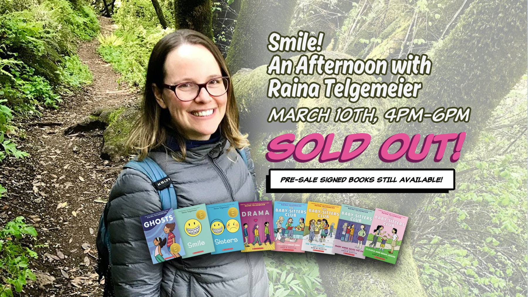 Smile an afternoon with raina telgemeier the cartoon art museum welcomes raina telgemeier for a special meet and greet event with her fans on saturday march 10 from 400 600pm kristyandbryce Images